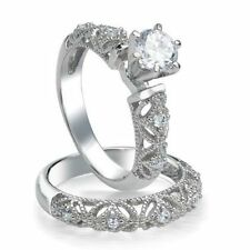 .925 Sterling Silver Wedding Set CZ Engagement Ring Ladies Bridal Size 8 New w35