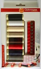 Gutermann SEW ALL Thread 100m x 8 + 10 x Fabric Clips Kit BOX SET Basic Colours