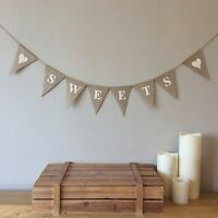 SWEETS Candy Cart Hessian Bunting Banner Vintage Rustic