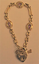 Brand new 9ct gold heart bracelet with amethyst stones!!