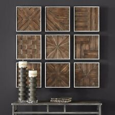 "NEW NINE 13"" X 13"" AGED RUSTIC WOOD WALL PANELS WALL ART MODERN SILVER FRAMES"
