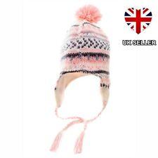 020ec7f0dd43d Ladies Women Girls Peruvian Knitted Winter Ski Hat Fleece Lined Bobble Pom
