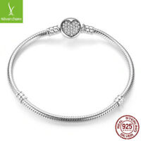 Authentic 925 Sterling Silver Snake Chain Love Heart CZ Charm Bangle & Bracelets