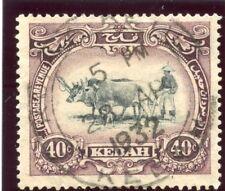 Malaya Kedah 1924 40 C Negro & Púrpura (tipo I-wmk corona a la izquierda) VFU. SG 35bw.