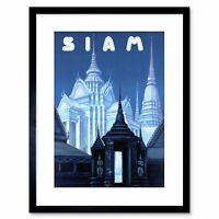 Travel Siam Thailand Bangkok Temple Ornate Buddhist Framed Print 9x7 Inch