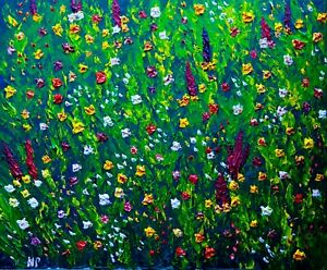 Summer Flower Field  Natasha Petrosova original oil painting 16x20 inch