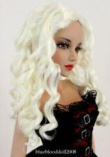 "1/3 bjd 8-9"" doll head white curly wig dollfie Luts Iplehouse Smart JD285SM413L"
