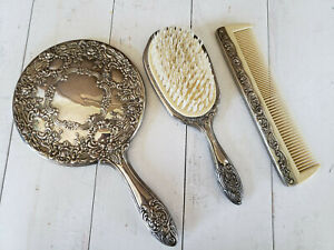 Vintage 3 Pc Dresser Vanity Set Silver Plated Mirror Brush Comb Floral Design