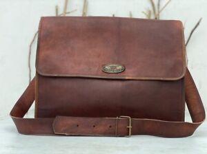 Leather Vintage Men Messenger Laptop Briefcase Satchel Easy To Open Travel Bag