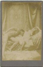 Cabinet Card albumen photo nude woman & black male original early 1890s