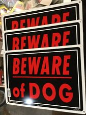 "3 BEWARE OF DOG Sign Metal Signs 10""x14"" Sturdy Aluminum Warning Hillman Sign"