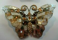 STUNNING Sterling Silver Rhinestone & Mother of Pearl BUTTERFLY Brooch/Pendant