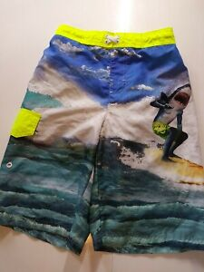Ocean Pacific Boys Size Large 10-12 Multicolored Sharkman Swimming Trunks