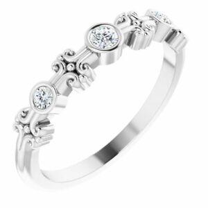Diamond Bezel-Set Ring In 14K White Gold (1/8 ct. tw