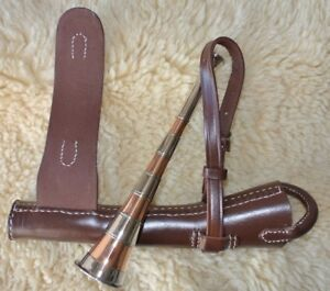 FOX HUNTING HORN & LEATHER CASE SET MOUTH PIECE BRASS COPPER THREE  BANDED