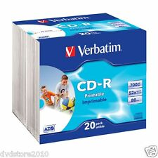 100 CD -R AZO Wide Inkjet Printable 52X 700MB ID Branded Slim Case Print 43424