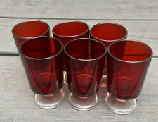 Set Of 6 Luminarc Ruby Red Cavalier Clear Base Cordial Shot Glass Liquor