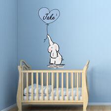 Personalised Baby Elephant Wall Sticker Balloons Nursery Decals Bedroom Art Kids