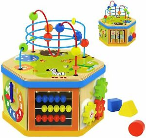 TOP BRIGHT Activity Cube Toys Baby Wooden Bead Maze Shape Sorter 7-in-1 Toys