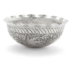 Antique Indian Kashmir Srinagar Chinar (Buen) Leaf Silver Plated Bowl c1880