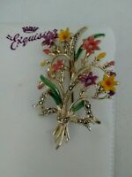 Vintage Signed Exquisite Enamel Flower Posy Bouquet Collectable Brooch Pin