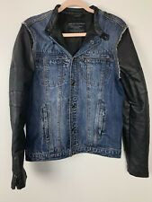 Zara Man Denimwear Mao Collar Faux Leather Zipper Sleeves Jacket Mens Sz Medium