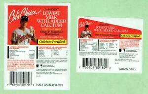 CAL RIPKEN JR Orioles ~ 1993 Cal's Choice Milk Labels, 2 different