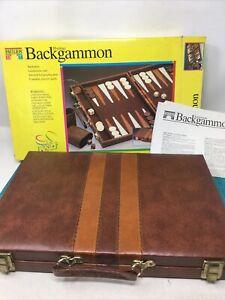 Pavilion Prestige 1992 Backgammon Game  Geoffrey Inc. Leatherette Case