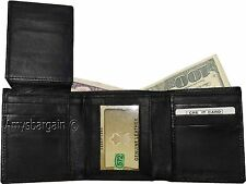 New Men's tri-fold Leather Wallet, Black mens wallet 9 card, New in the Box BN.