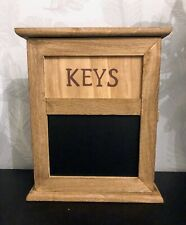 Wall Mounted Rustic Wooden Key Cupboard Chalkboard Message Blackboard