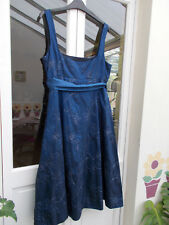 Debut Navy Blue Dress with Silver Thread Detail size 14 - Excellent Condition
