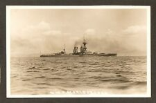 REAL-PHOTO POSTCARD: H.M.S. MARLBOROUGH - BRITISH NAVY WW-1 BATTLESHIP - Trimmed
