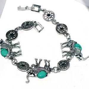 Vintage Green Turquoise Womens Bracelet Elephant Bracelets Fashion Jewelry
