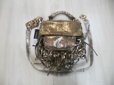 NWT CHRISTIAN AUDIGIER Shimmery Bronze Python Print Fringe Crossbody Bag