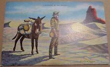 """1941 Dude Larson """"Landmarks of the Desert"""" Postcard  prospector burro mule west"""