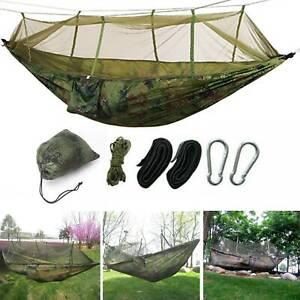 Camping Hammock With Mosquito Net & Rain Cover Tent Tarp Waterproof Outdoor Mat