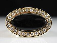 14K Black Onyx Diamond Ring Yellow Gold Fine Jewelry Signet Halo Genuine Size 6