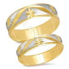 14K Two Tone Gold Bride Groom Matching Wedding Band Ring Set Unisex Engagement