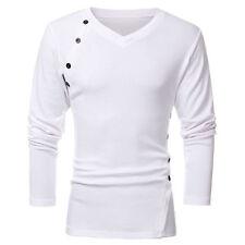 Herren Langarm Shirt T-Shirt Longsleeve Sport Top Schwarz V-Ausschnitt Slim Fit