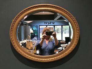 Vintage Bevelled Edge, Oval Ornate Matt Old Gold Gilt, Wood Framed Wall Mirror
