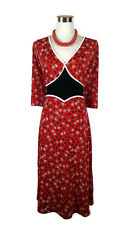 LEONA EDMISTON Dress - Vintage Style Dot Print Red Black White Stretch - 10/12/M