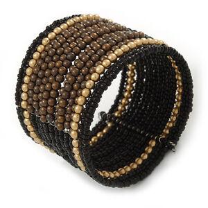 Boho Brown/ Black/ Gold Glass & Acrylic Bead Cuff Bracelet - Adjustable (To All