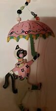 Windchime cat with umbrella