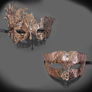 Luxury Couples Masquerade Mask Rose Gold Venetian Party Masquerade Masks