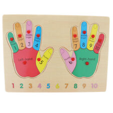 Hand Shape Number Insert Board Match Jigsaw Puzzles Montessori Wooden Toy