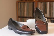 Bally Talbala Black Leather Brown Weave Vamp Loafers Sz 7.5 M Made In Italy