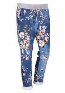 Women lagenlook dark denim floral trouser jogger with pockets