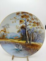 """Vintage Ucagco China Hand Painted Japan Signed 9"""" wall plate no chips or cracks"""