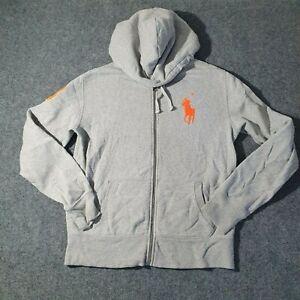Ralph Lauren Jumper kids LARGE Grey Hoodie Long Sleeve Full Zipper Size L