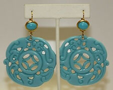 Kenneth Jay Lane Large Turquoise Gold Drop Wire Pierced Earrings
